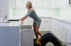 الملاعين كس في المطبخ مع سباك